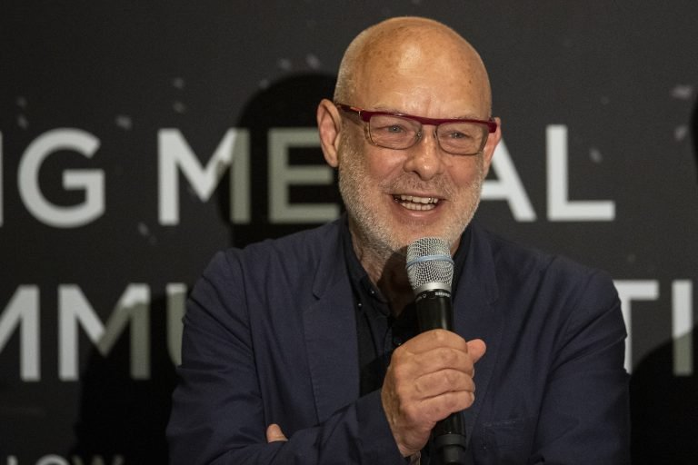 Artist Brian Eno speaks speaks during a panel discussion with the Apollo astronauts during a press conference of the Starmus Festival in Zurich, Switzerland, Monday, 24 June 2019. The 2019 Starmus Festival celebrates mankind's first step on the Moon, coinciding with the 50th anniversary of this event in human history. (Ennio Leanza/Keystone via AP)