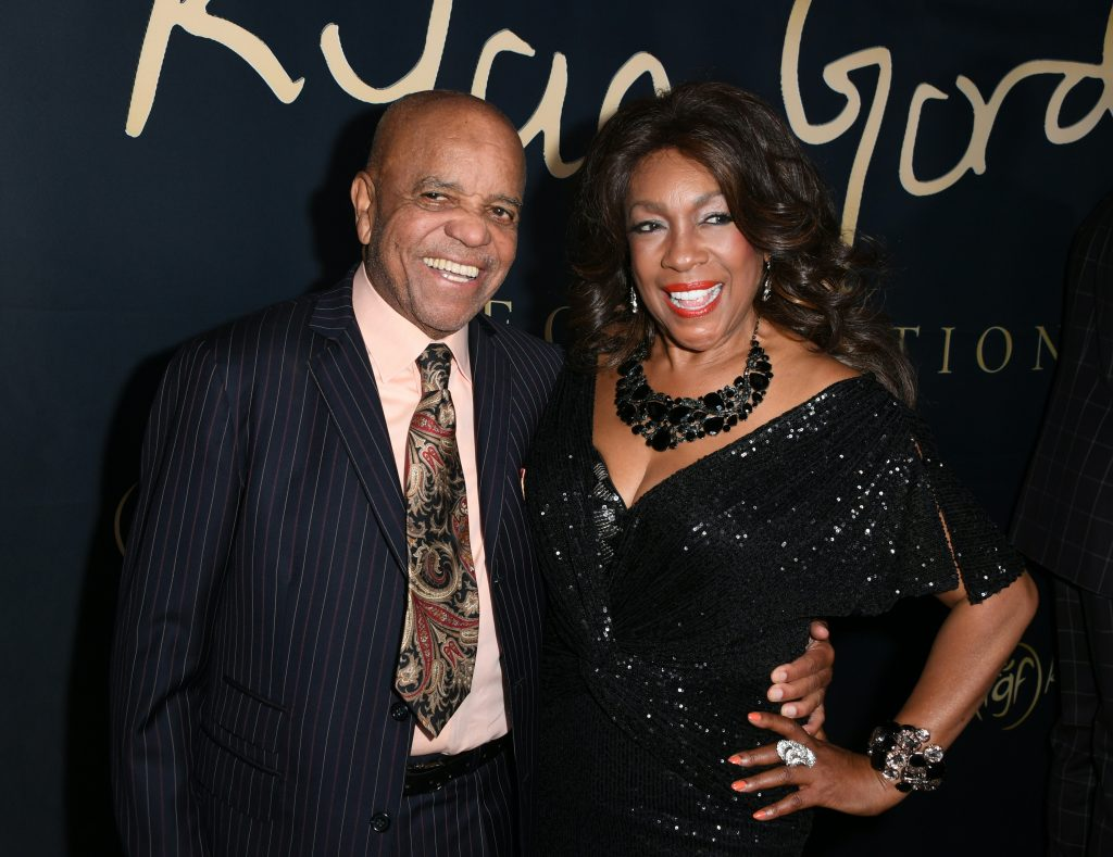 Founder of the Motown record label Berry Gordy and singer from The Supremes Mary Wilson arrive for the Ryan Gordy Foundation 60 Years of Motown Celebration at the Waldorf Astoria in Beverly Hills on November 11, 2019. (Photo by Mark RALSTON / AFP) (Photo by MARK RALSTON/AFP via Getty Images)