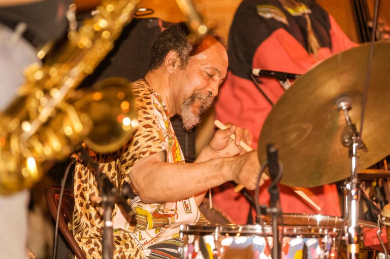 American Avant-garde Free Jazz musician Milford Graves plays drums as he performs onstage during the 9th annual Vision Festival Avant Jazz for Peace at the Center at St Patrick's Youth Center, New York, New York, May 29, 2004. (Photo by Jack Vartoogian/Getty Images)