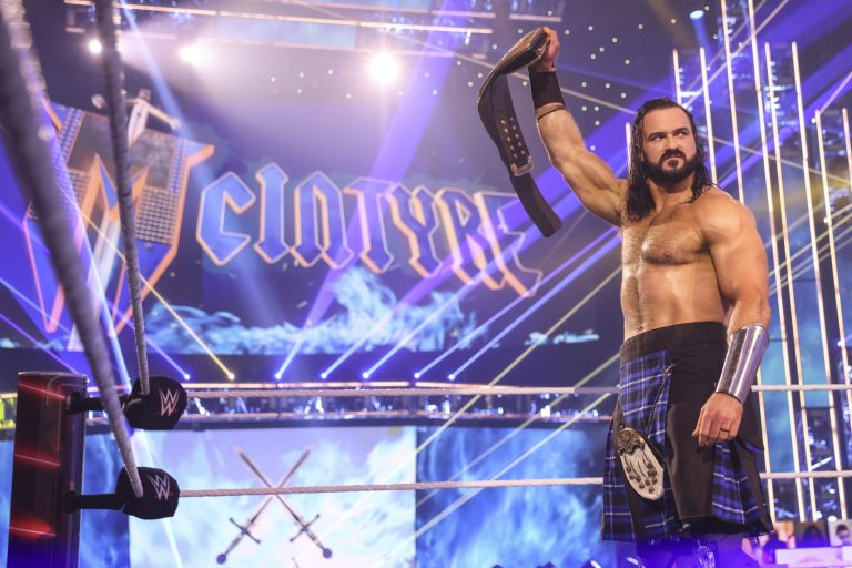 Drew McIntyre clears the ring