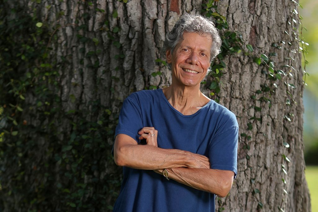 """Jazz pianist and composer Chick Corea poses for a portrait in Clearwater, Fla., on Sept. 4, 2020, to promote his new double album """"Plays,"""" available on Friday Sept. 11. (Mike Carlson/Invision/AP)"""