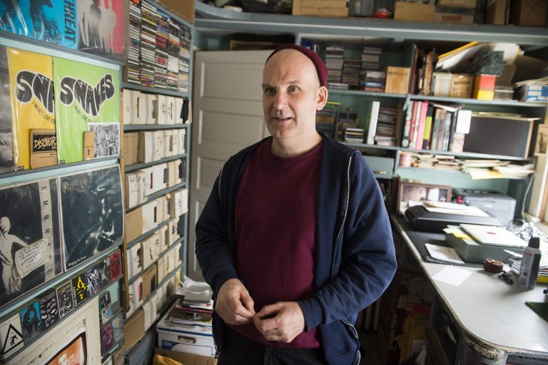 Ian MacKaye, founder of Dischord Records and former Fugazi member, speaks in the company's offices in Arlington, Virginia, March 25, 2016. / AFP / SAUL LOEB        (Photo credit should read SAUL LOEB/AFP via Getty Images)