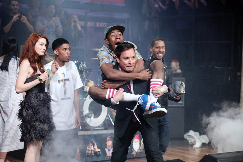 LATE NIGHT WITH JIMMY FALLON -- Episode 395 -- Pictured: (l-r) Felicia Day, Musical Guest Odd Future, Jimmy Fallon, and Brandon T. Jackson on February 16, 2011  (Photo by Lloyd Bishop/NBCU Photo Bank/NBCUniversal via Getty Images via Getty Images)