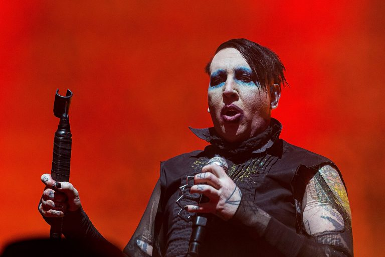 HOUSTON, TEXAS - NOVEMBER 09: Marilyn Manson performs during the second annual Astroworld Festival at NRG Park on November 9, 2019 in Houston, Texas. Photo: Trish Badger/imageSPACE/MediaPunch /IPX