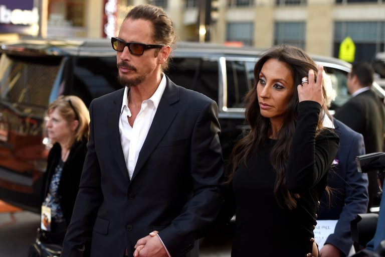 "Chris Cornell, left, and Vicky Karayiannis arrive at the U.S. premiere of ""The Promise"" at the TCL Chinese Theatre on Wednesday, April 12, 2017, in Los Angeles. (Photo by Chris Pizzello/Invision/AP)"
