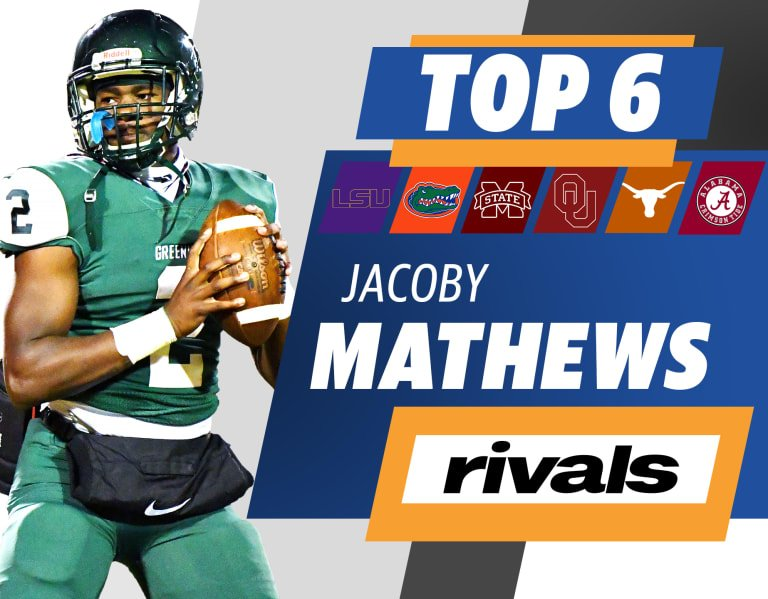 The nation's top safety, Jacoby Mathews, is down to six teams