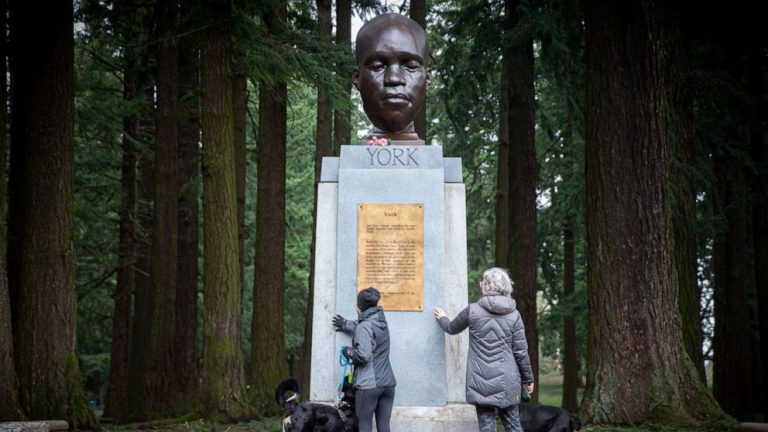 Bust of York, an enslaved Black member of the Lewis and Clark expedition, appears in Portland