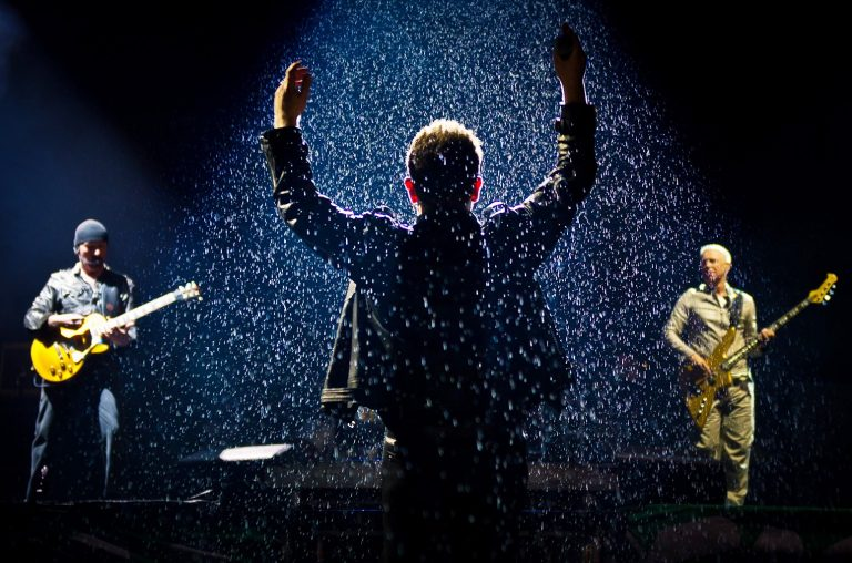 U2 perform live on the pyramid stage during the Glastonbury Festival at Worthy Farm, Pilton on June 24, 2011 in Glastonbury, England.