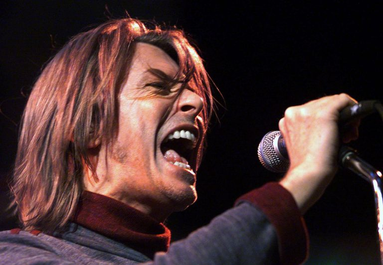 Legendary rocker David Bowie performs at the MuchMusic Video Awards in Toronto, Ontario Thursday, Sept. 23, 1999. (AP Photo/CP, Kevin Frayer)