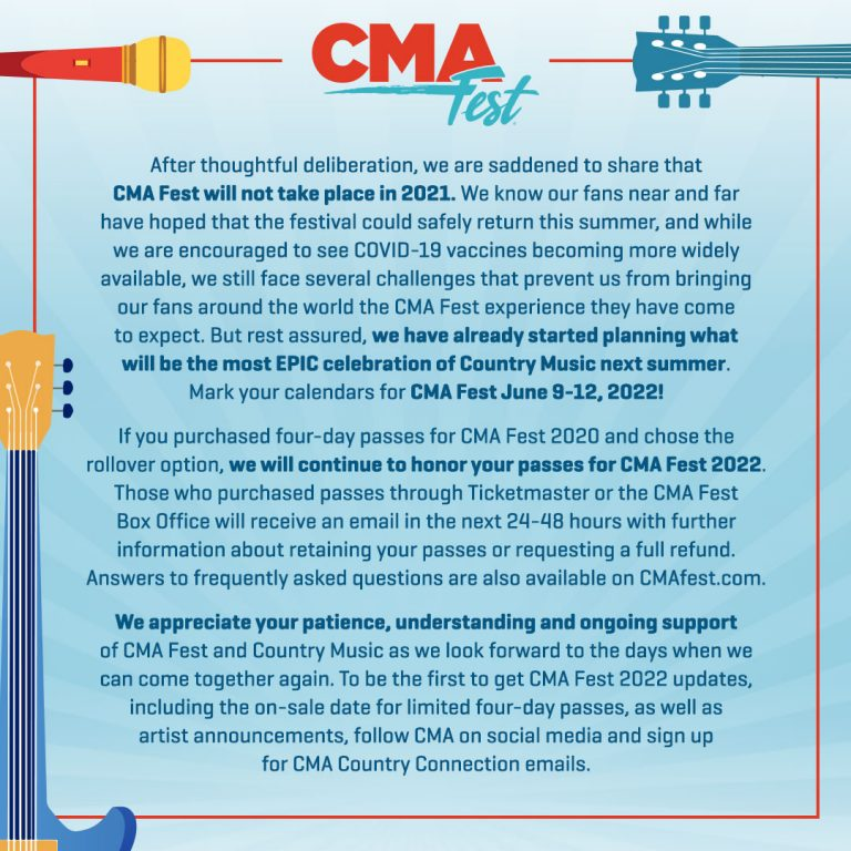 CMA Fest Cancelled for 2021