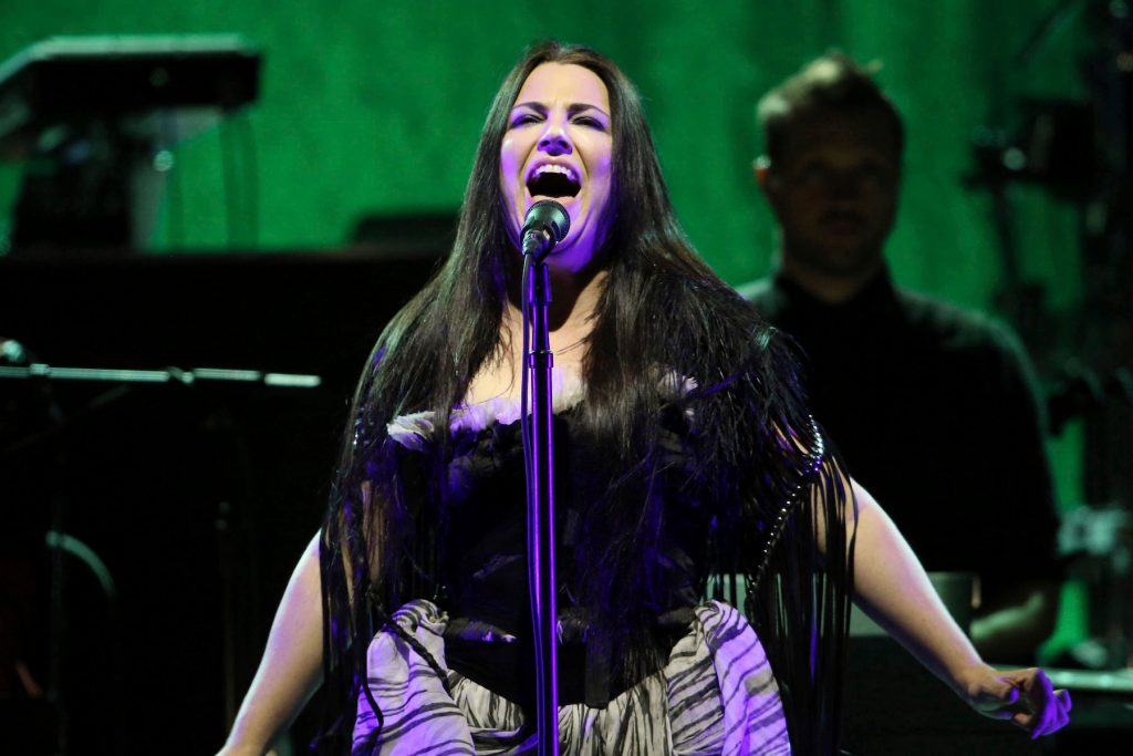 Amy Lee with Evanescence performs at Chastain Park Amphitheatre on Friday, October 27, 2017, in Atlanta. (Photo by Robb Cohen/Invision/AP)