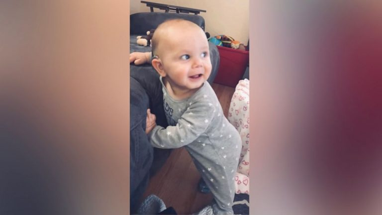 Baby born deaf has touching reaction to hearing music for 1st time