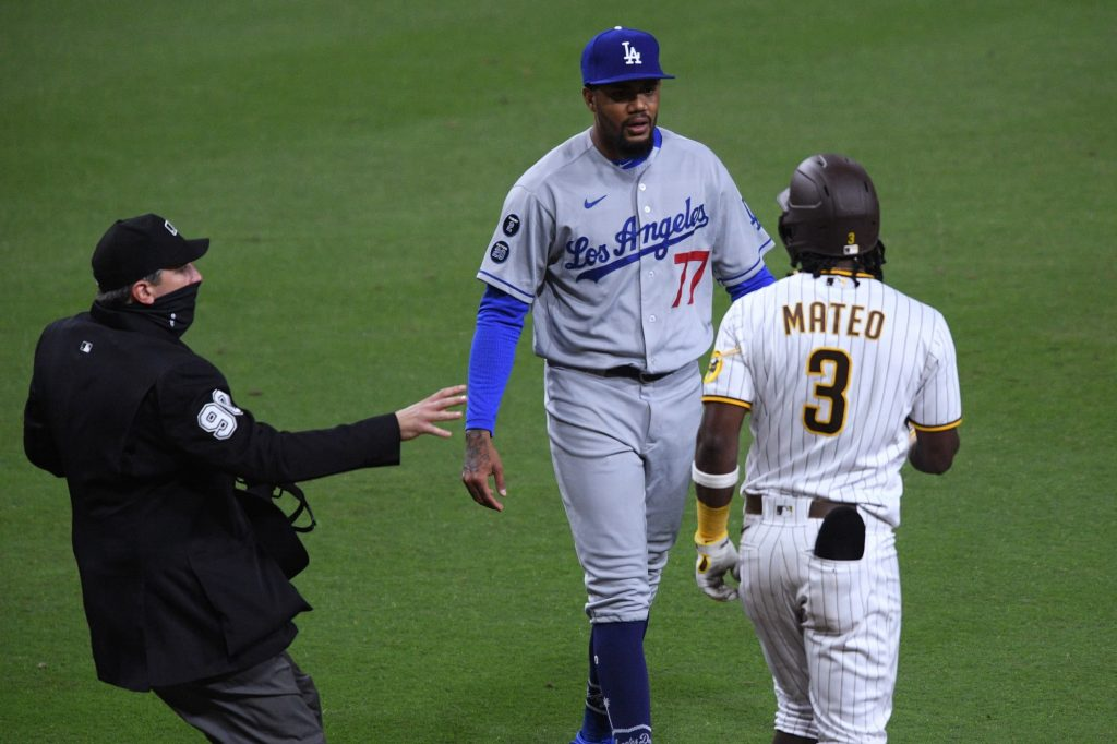 Benches clear in Padres-Dodgers clash after Jorge Mateo hit by pitch