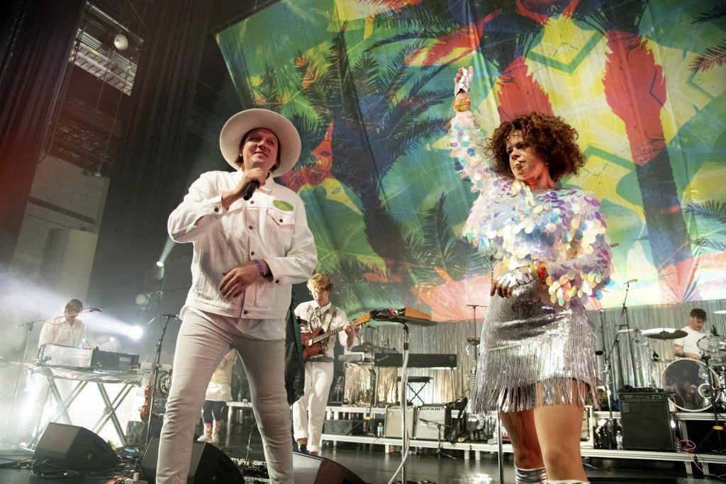 Win Butler, left, and Regine Chassagne of Arcade Fire perform at the Krewe du Kanaval Mardi Gras Ball at Mahalia Jackson Theater for the Performing Arts on Friday, Feb. 14, 2020, in New Orleans. (Photo by Amy Harris/Invision/AP)