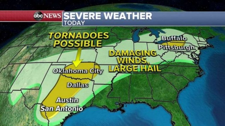 More severe weather expected in South as summer-like temperatures head to Northeast
