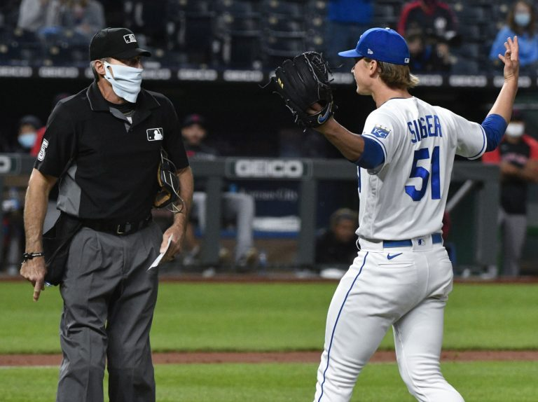 Brady Singer gets ejected for absolutely losing it on Angel Hernandez (Video)
