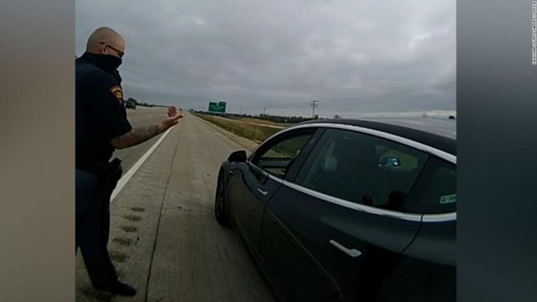 Tesla driver appeared to be sleeping behind the wheel, authorities say. So deputies pulled him over