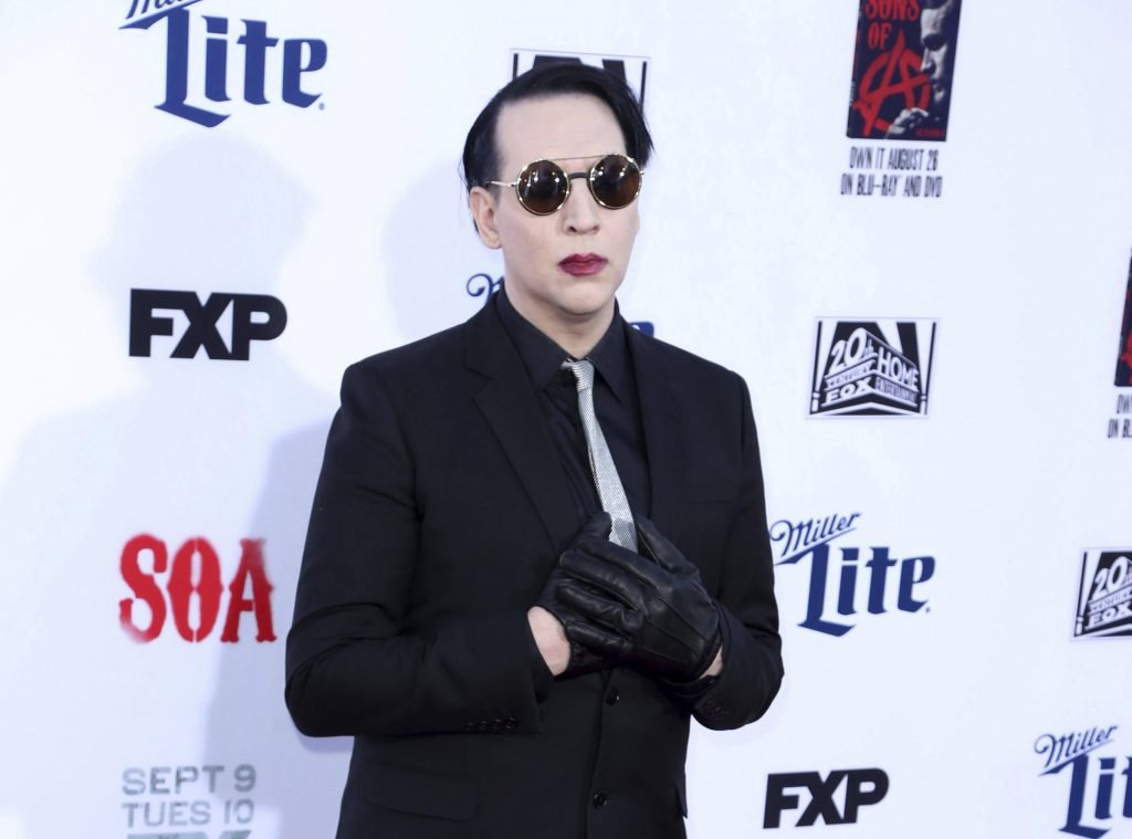 """APRIL 30th 2021: Esme Bianco files lawsuit against Marilyn Manson alleging rape, sexual assault and sex trafficking. - FEBRUARY 12th 2021: Actress Esme Bianco - best known for her role as Ros on """"Game of Thrones"""" - accuses Marilyn Manson of physical, emotional and sexual abuse. - File Photo by: zz/JMA/STAR MAX/IPx 2014 9/6/14 Marilyn Manson at the final season premiere of """"Sons Of Anarchy"""" held on September 6, 2014 in Hollywood, California."""