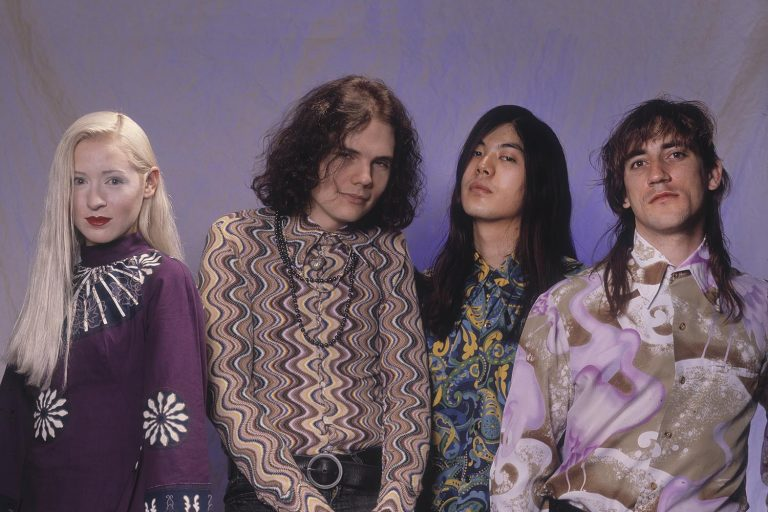 Portrait of the members of American Rock group Smashing Pumpkins as they pose in a photo studio, Chicago, Illinois, May 10, 1991. Pictures are, from left, D'Arcy Wretzky, Billy Corgan, James Iha, and Jimmy Chamberlin. (Photo by Paul Natkin/Getty Images)