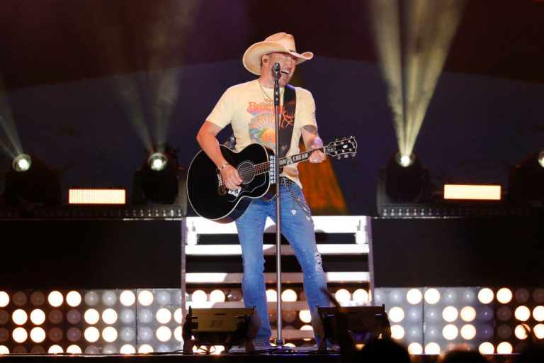 "MANCHESTER, TENNESSEE - MAY 15: Jason Aldean performs during ""Live From The Bonnaroo Farm"" on May 15, 2021 in Manchester, Tennessee. (Photo by Jason Kempin/Getty Images)"