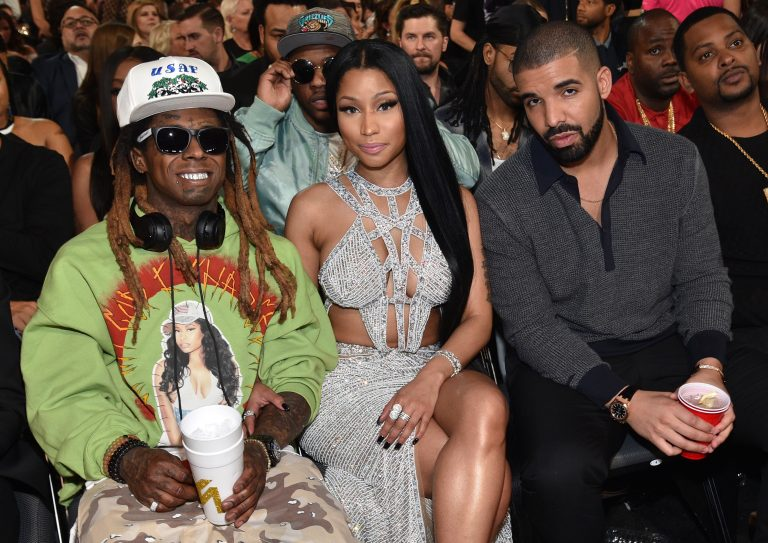 LAS VEGAS, NV - MAY 21:  (L-R) Recording artists Lil Wayne, Nicki Minaj, and Drake attend the 2017 Billboard Music Awards at T-Mobile Arena on May 21, 2017 in Las Vegas, Nevada.  (Photo by Kevin Mazur/BBMA2017/Getty Images for dcp)