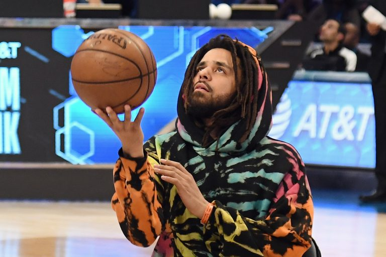 CHARLOTTE, NC - FEBRUARY 16:  J. Cole attends the 2019 State Farm All-Star Saturday Night at Spectrum Center on February 16, 2019 in Charlotte, North Carolina.  (Photo by Kevin Mazur/Getty Images)