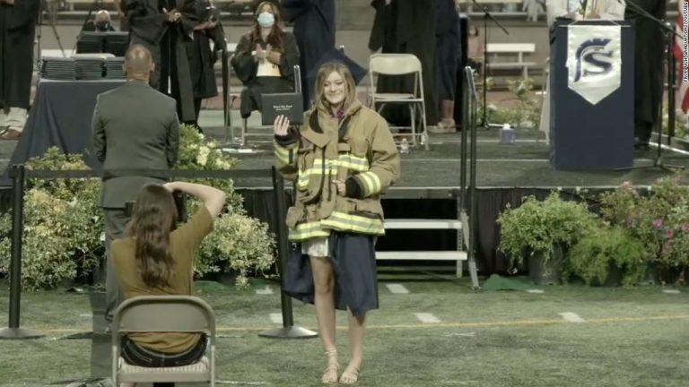Daughter of firefighter killed in California fire station shooting graduates high school