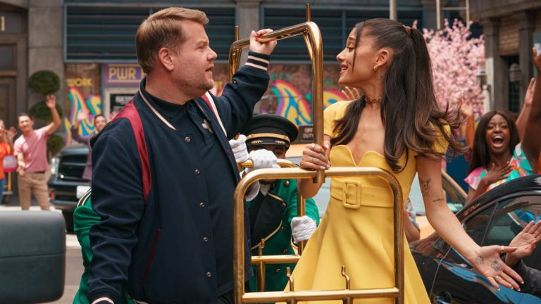Watch Ariana Grande and James Corden Celebrate 'No Lockdowns Anymore'