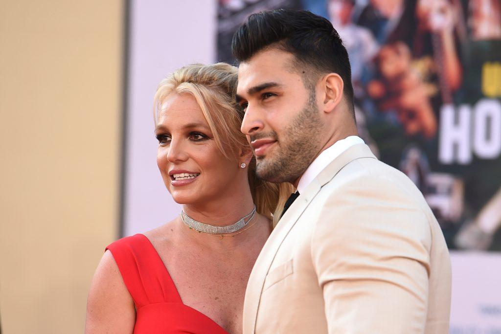 """Britney Spears and Sam Asghari arrive at the Los Angeles premiere of """"Once Upon a Time in Hollywood,"""" at the TCL Chinese Theatre, Monday, July 22, 2019. (Photo by Jordan Strauss/Invision/AP)"""