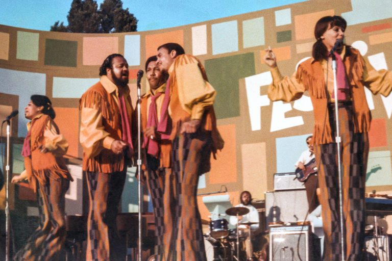 The 5th Dimension performing at the Harlem Cultural Festival in 1969, featured in the documentary SUMMER OF SOUL. Photo Courtesy of Searchlight Pictures. © 2021 20th Century Studios All Rights Reserved