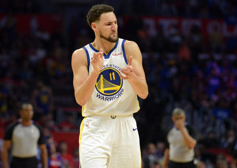 Klay Thompson is back in the gym and draining 3s